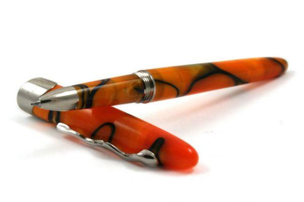 Jean-Pierre Lepine Samba Rollerball Pen - Orange with Blue Filet