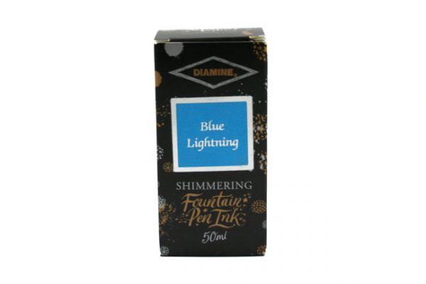 Diamine - Shimmertastic - Shimmering Fountain Pen Ink - Blue Lightning