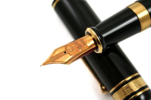 Wahl-Eversharp - Decoband Gold Seal Oversized - Fountain Pen - Plain Black