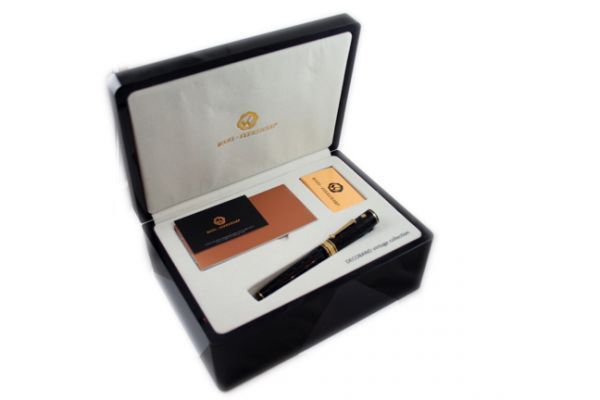 Wahl-Eversharp Decoband Gold Seal Oversized GATSBY Black Etched Fountain Pen with Rhodium Trim