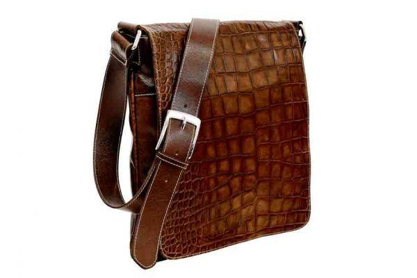 Munari Vachetta Cocco Leather Shoulder Bag