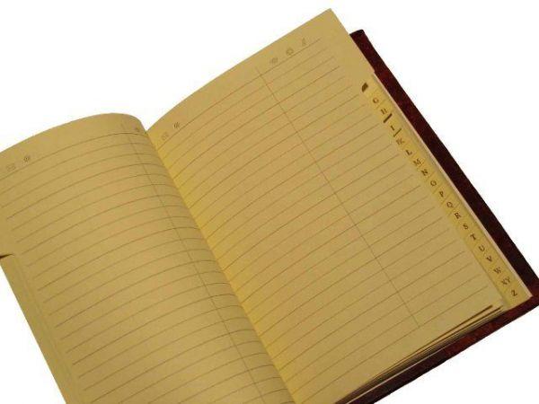 Hard Cover, Leather Bound Address Book - Modern Spine