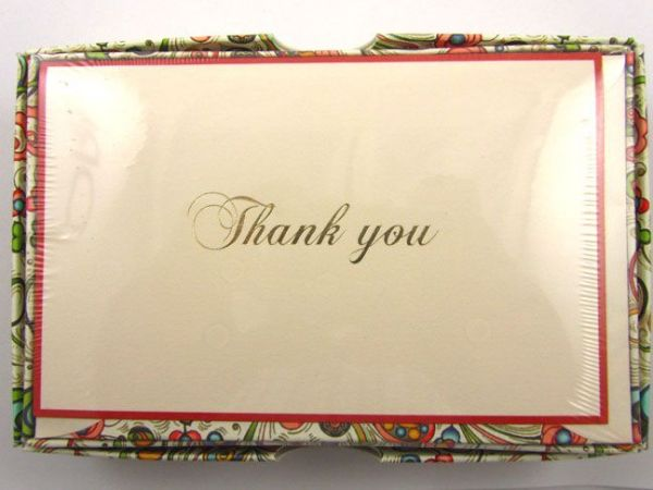 Rossi - Art Nouveau In Red - Small Fold Over Thank You Cards