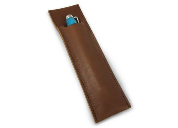 e+m Cognac Leather Pen Pouch
