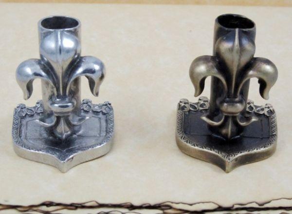 Pewter or Bronzed Pewter Fleur de Lys Pen Stand