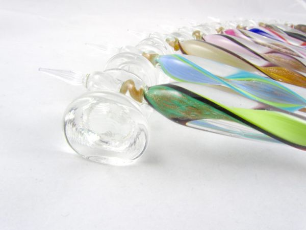 Murano Glass Dipping Pen With Ribbon and Gold Leaf (Base included)