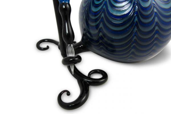 Murano Glass Inkwell Set: Blue/Black Lace