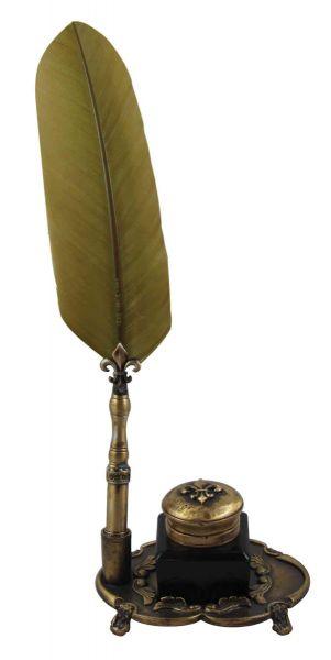 Square Glass Inkwell Set - Bronzed - Fleur de Lis Design