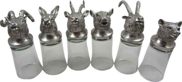 Le Potier D'Etain - Set of Six Shot Glasses - Animals