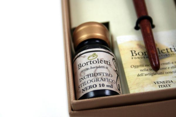 Bortoletti - Wood and Bronze Dip Pen Calligraphy Set