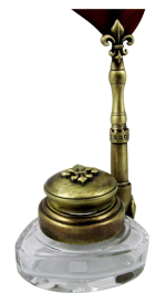 Triangle Inkwell Set With Quill, Fleur de Lys, Bronze