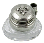 Triangle Inkwell Set With Quill, Fleur de Lys, Pewter