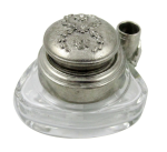 Triangle Inkwell Set with Quill, Garland, pewter