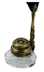 Triangle Inkwell Set with Quill, Garland, Bronze