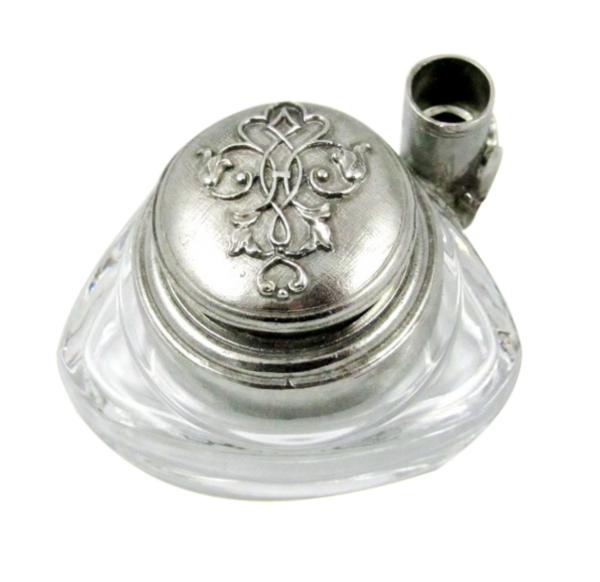Triangle Inkwell Set with Quill, Filigree Pewter