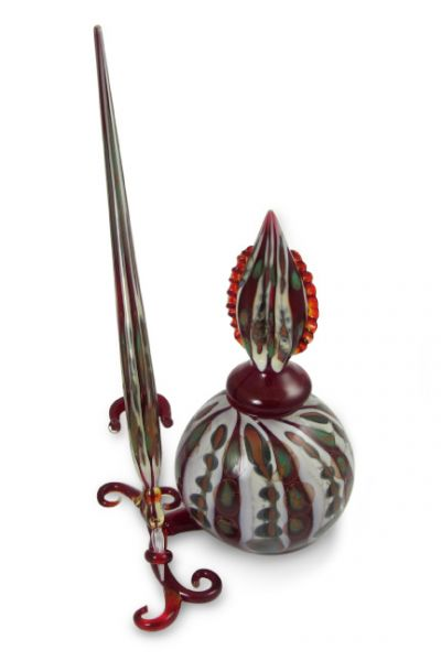 Murano Glass Inkwell Set: Green, Red, and White