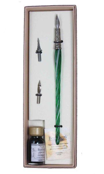Bortoletti Entwined Murano Glass Dipping Pen Set