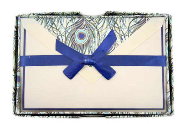 Rossi - Peacock - Medium Plain Cards - Fold Over with Blue Border