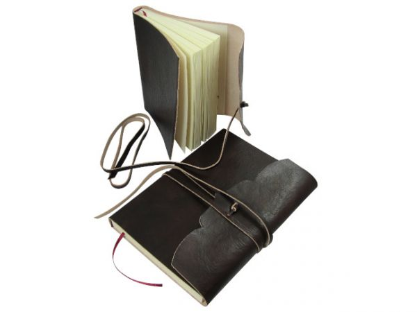 Softcover Leather Lined Journal with Wraparound Strap
