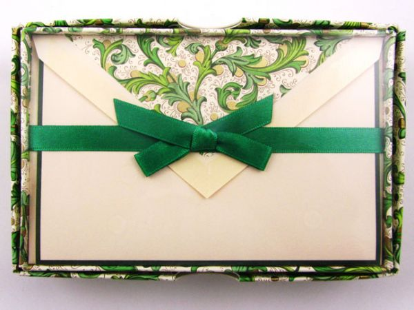 Rossi - Green Florentine - Small Fold Over Cards
