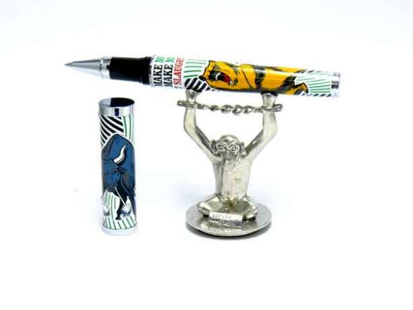 """Jac Zagoory """"Write No Evil"""" Chained Up Monkey Hands Mini Pen Holder"""