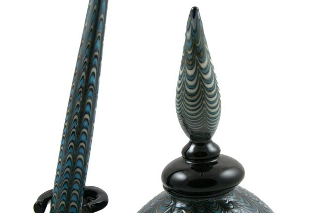 Murano Glass Inkwell Set: Blue Lace - Point