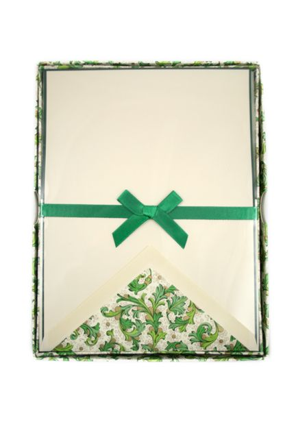 Rossi - Green Florentine - Stationery Sheets and Envelopes