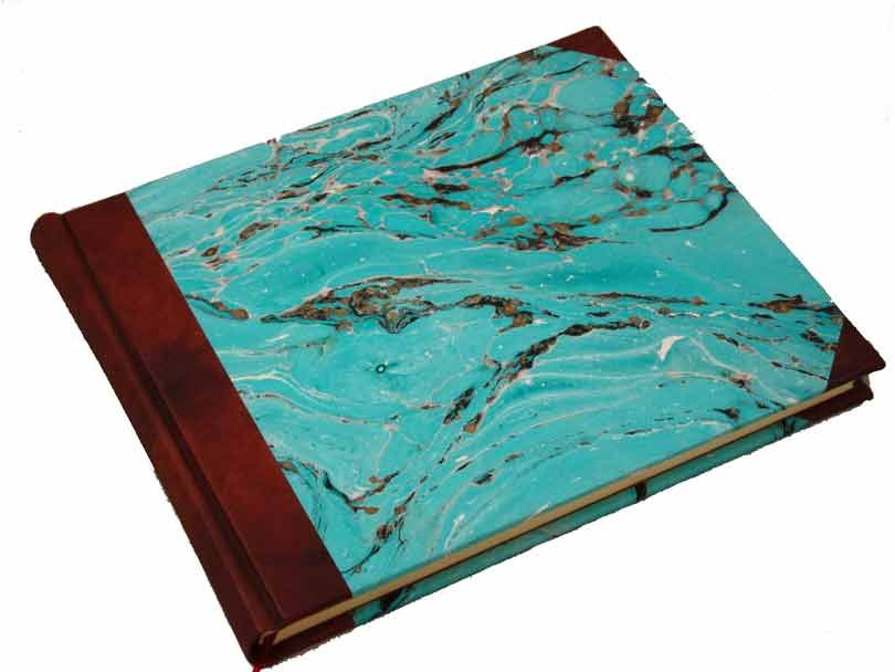 Handcrafted Guest Book with Marbleized Cover and Leather Trim